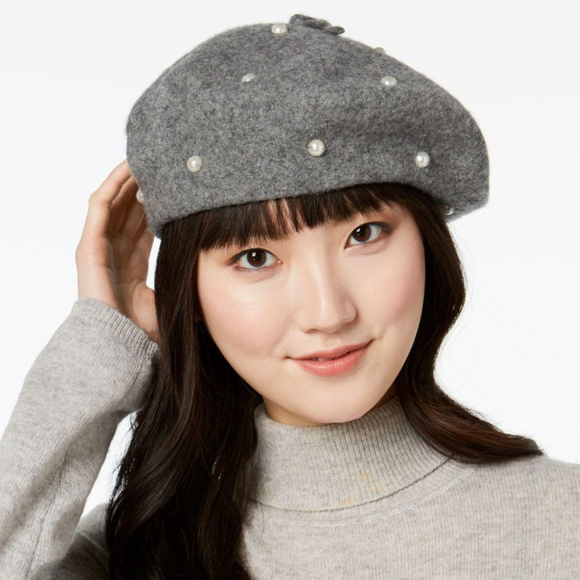 9dfbc9280d1ae Kate Spade New York Pearl Wool Beret Hat Gray